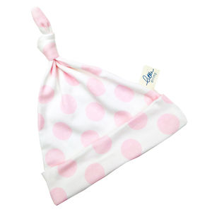 Baby Girl Hat Pink Polka Dot - hats, scarves & gloves