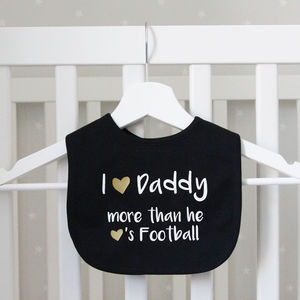 Daddy Loves Football Baby Bib - first father's day