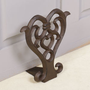 Vintage Cast Iron Love Heart Door Stop - children's room