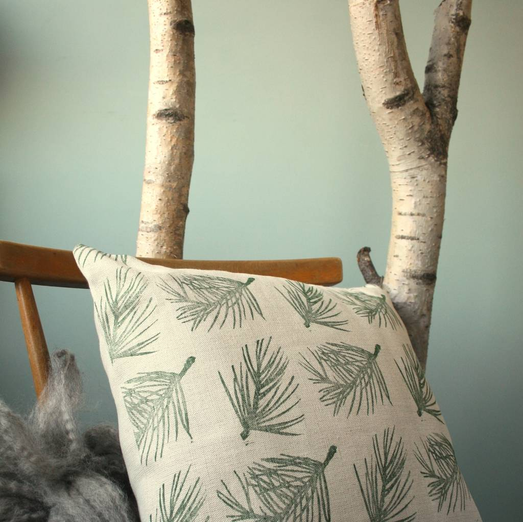 Hand Printed Linen Cushion Cover Autumn Winter