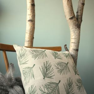 Hand Printed Linen Cushion Cover Autumn Winter - christmas home accessories