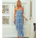 Lilia Bandeau Maxi Dress Blue Mustique Print