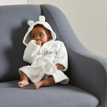 Embroidered White Hooded Fleece Baby Dressing Gown