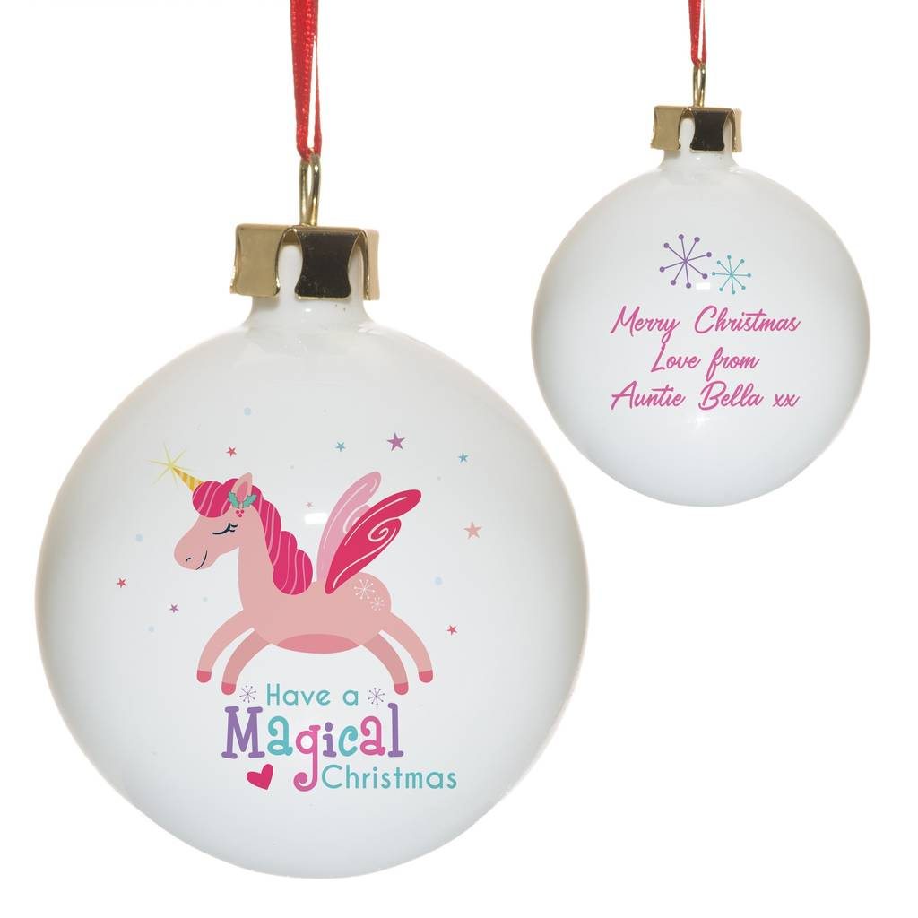 personalised bone china unicorn christmas decorations - Unicorn Christmas Decorations