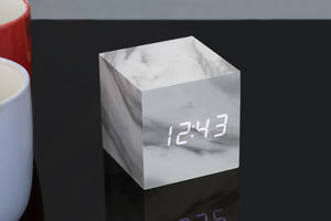 Cube Marble Click Clock - bedroom