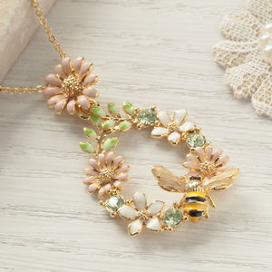 Bumble Bee On Flowers Necklace - necklaces & pendants