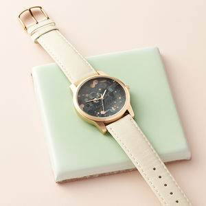 Patterned Rose Gold Watch - watches