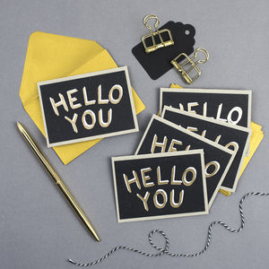 'Hello You!' Mini Notecards Set Of Five