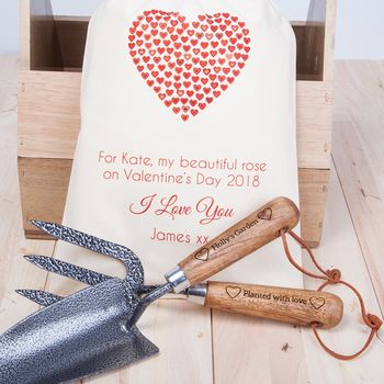 Personalised Valentines Garden Trowel And Fork Set