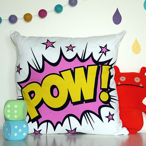 'Pow!' Superhero Cushion Cover - whatsnew