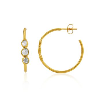 Gold Plated Hoop Earrings With Diamonds