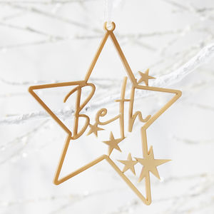 Little Star Personalised Christmas Decoration - hanging decorations