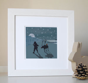 Christmas Blue Santa Beach Illustration