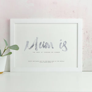Personalised 'Mum Is' Marble Mothers Day Print - personalised