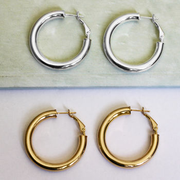 18ct Gold Vermeil And Sterling Silver Hoop Earrings