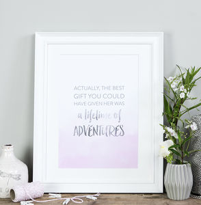 'Lifetime Of Adventures' Typographic Quote Print - children's pictures & paintings