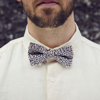 Black And Pale Pink Floral Bow Tie