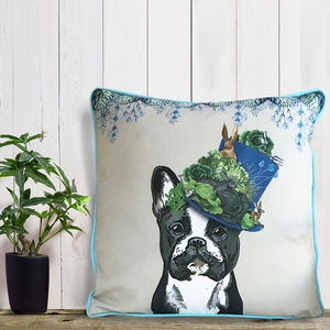 French Bulldog Cushion, The Milliners Dogs - bedroom