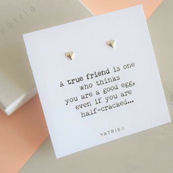 A True Friend Silver Heart Earring Gift
