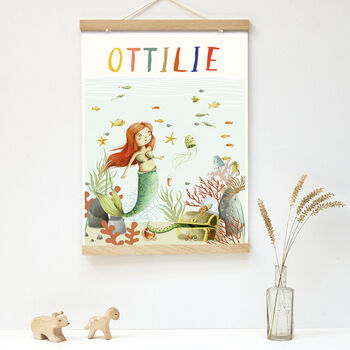 Personalised Illustrated Mermaid Print