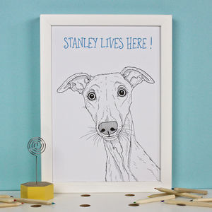 Personalised Whippet Print - pet portraits