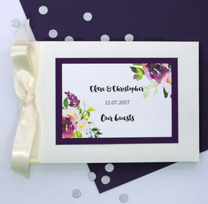 Wedding Guest Book With Water Colour Flowers - guest books
