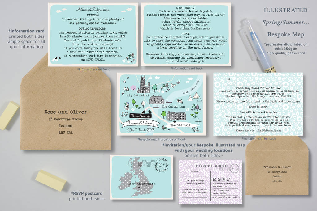 Bespoke Wedding Invitations: Bespoke Illustrated Map Wedding Invitation By Paper And