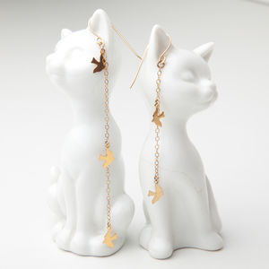 Gold Bird Charm Drop Earrings