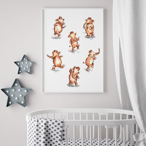 Adorable Dancing Mammoths Print For Nursery Or Playroom