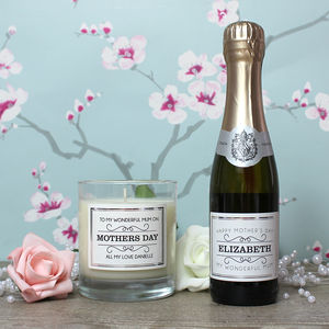 Personalised Mini Prosecco And Candle Gift Set