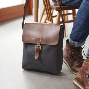 Canvas And Leather Mens Messenger Bag - gifts for him