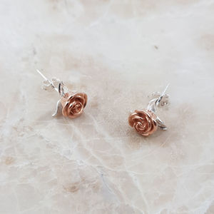 Sterling Silver Rose Gold Flower Stud Earrings - earrings