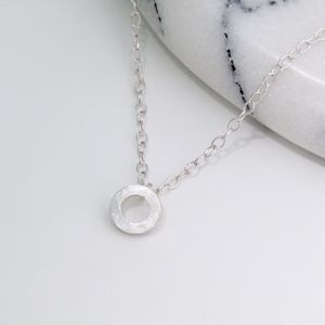 Small Silver Circle Necklace