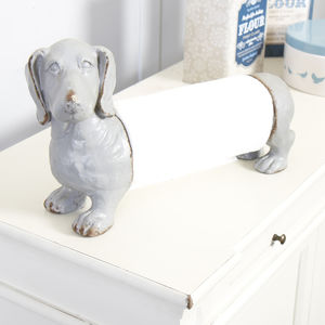 Grey Blue Tess The Daschund Kitchen Towel Holder - kitchen accessories