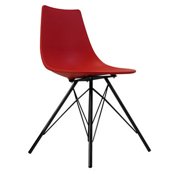 Oslo Chair Red With Black Metal Legs