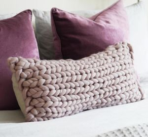Oblong Chunky Knit Panel Cushion