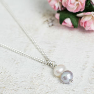 Handmade White And Grey Pearl Necklace