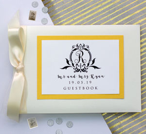 Wedding Guest Book With Personalised Crest - albums & guest books