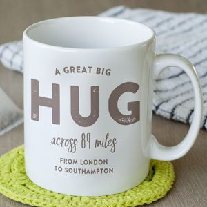Personalised 'Hug Across The Miles' Locations Mug - gifts for travel-lovers