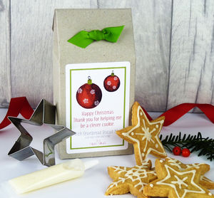 Teacher Christmas Shortbread Kit With Cutter And Icing - personalised