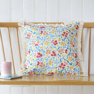 Floral, Natural Fringed Cushion Cover