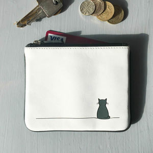 Sitting Cat Leather Purse