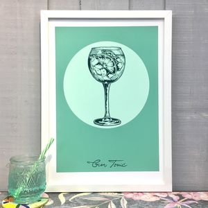 Gin Tonic Cocktail Giclee Fine Art Print