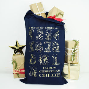 Personalised '12 Days of Christmas' Navy Christmas Sack