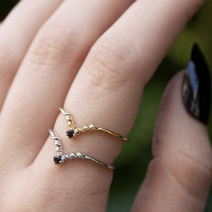 Dainty Black Gemstone Chevron Ring In Silver Or Gold - on trend rings