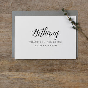 Personalised 'Thank You For Being My Bridesmaid' Cards - wedding thank you gifts