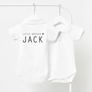 Little Brother Personalised Polo Babygrow - clothing