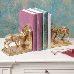 Golden Stag Bookends - kitchen accessories