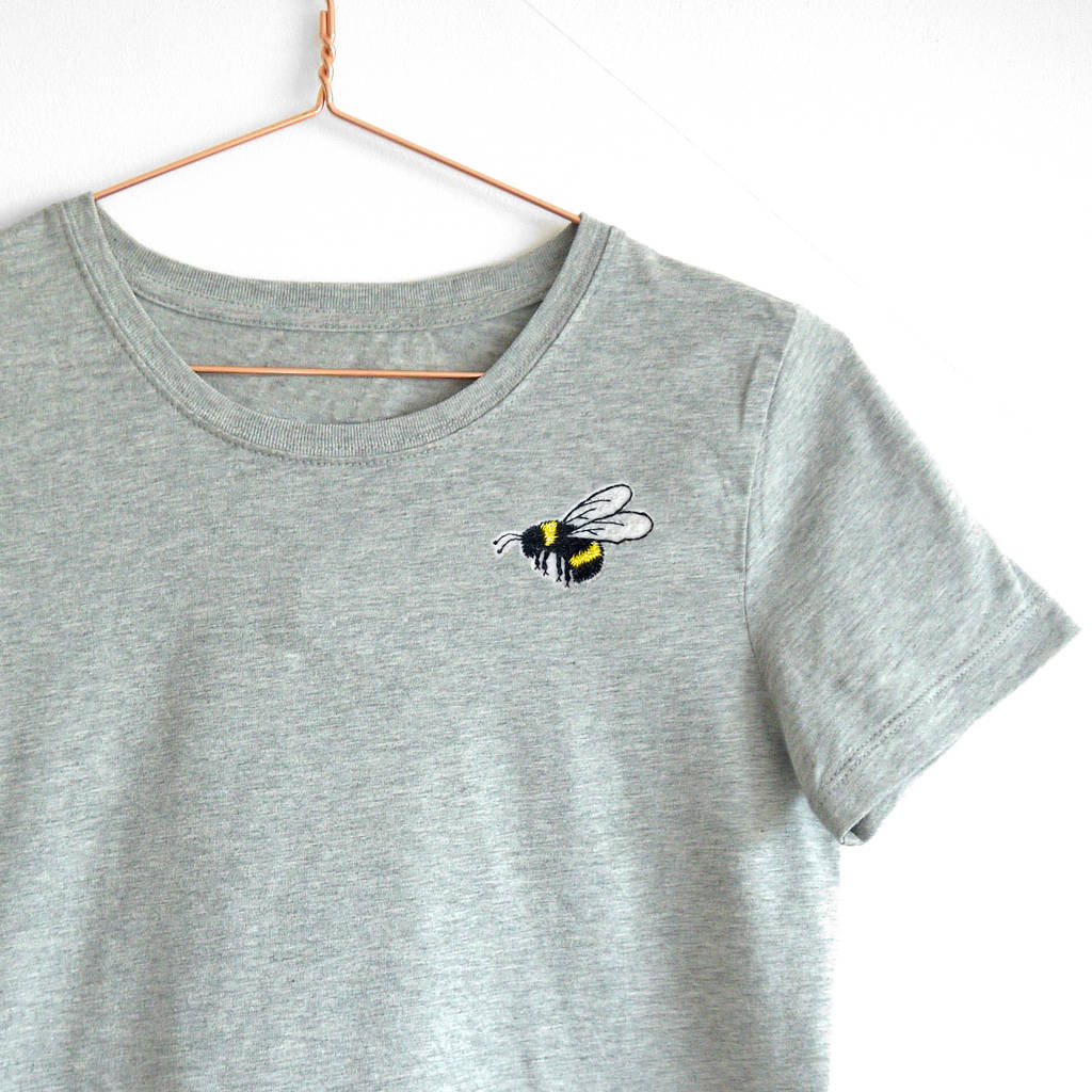 247dc8e8841ab6 embroidered bumble bee t shirt handmade by lint & thread ...