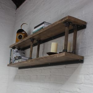 Letty Bespoke Shelves With Reclaimed Ladder Rung Risers - furniture